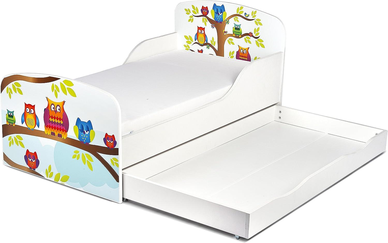 Confortable Fonctionnel Lit Simple Moderne Lit dEnfant Toddler Avec Matelas et Un Tiroir Couleur Blanc Motif de Hiboux Dimensions 140x70 Chambre Pour Les Enfants Meubles Pour Enfants
