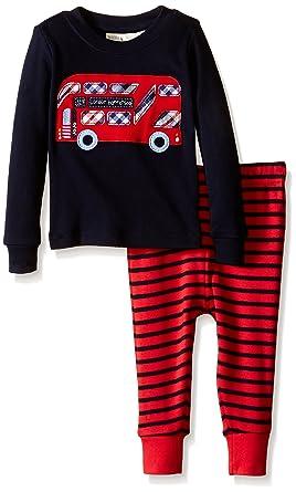 JoJo Maman Bébé Kids Skinny Fit Rib Pajamas, Bus, 6-12 Months