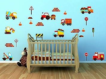 Stickerkoenig Wandtattoo Baustelle Fahrzeuge LKW Bagger Wandaufkleber  Wandsticker Kinderzimmer Wand Dekoration Baby Jungen