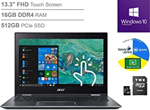 "Acer Spin 5 13.3"" FHD Touchscreen Laptop, i7-8565U up to 4.6GHz, 16GB DDR4, 512GB SSD, Bluetooth 5.0, Webcam, Fingerprint Reader, Online Class Ready, Windows 10 Professional, TWE 64GB Micro SD Card"