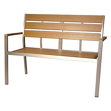 Groovy Polywood Garden Bench Park Bench Teak Brown 2 Seater 120 Cm Unemploymentrelief Wooden Chair Designs For Living Room Unemploymentrelieforg