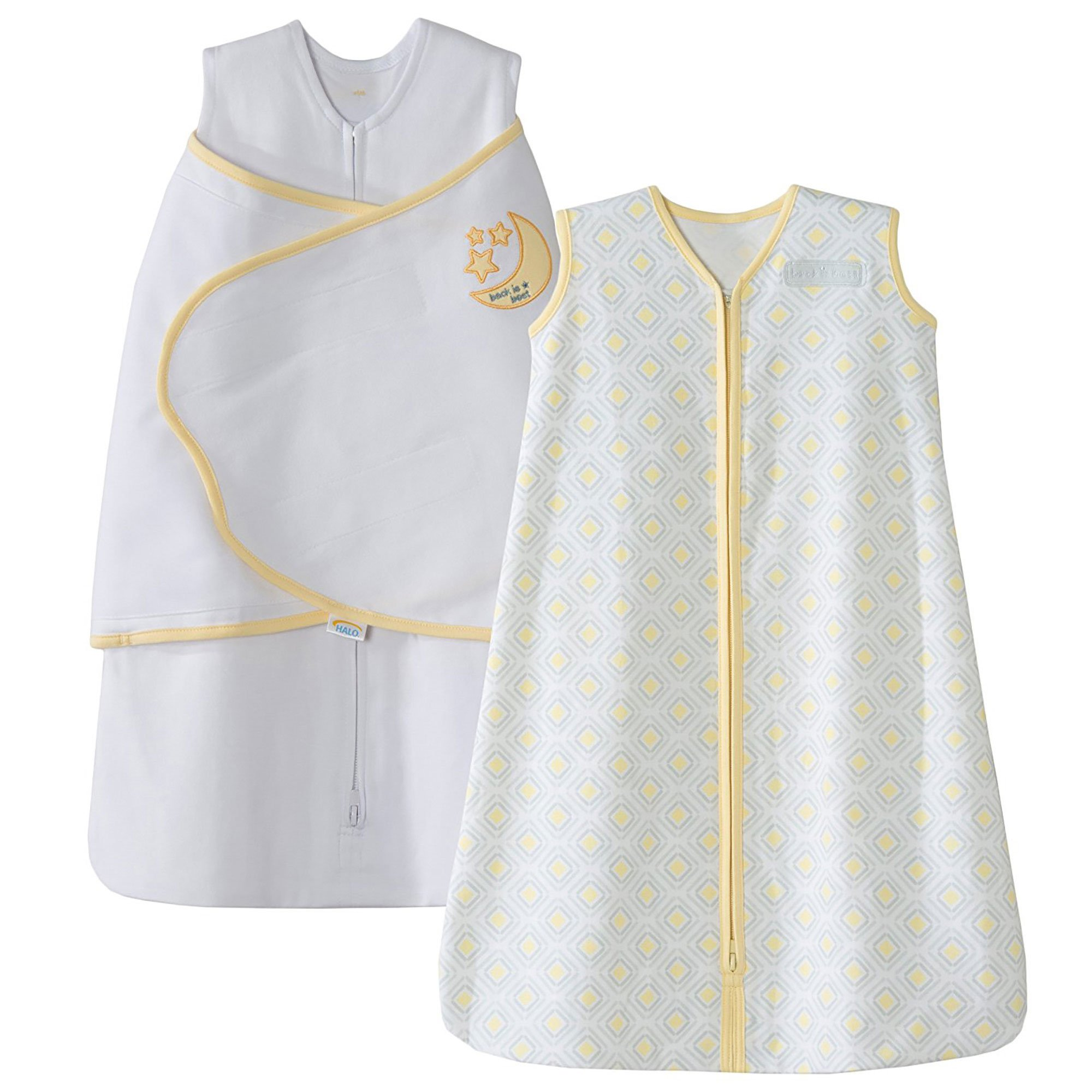 HALO SleepSack 100% Cotton Swaddle and Wearable Blanket Gift Set, White/Gray/Yellow Diamond, 2 Piece