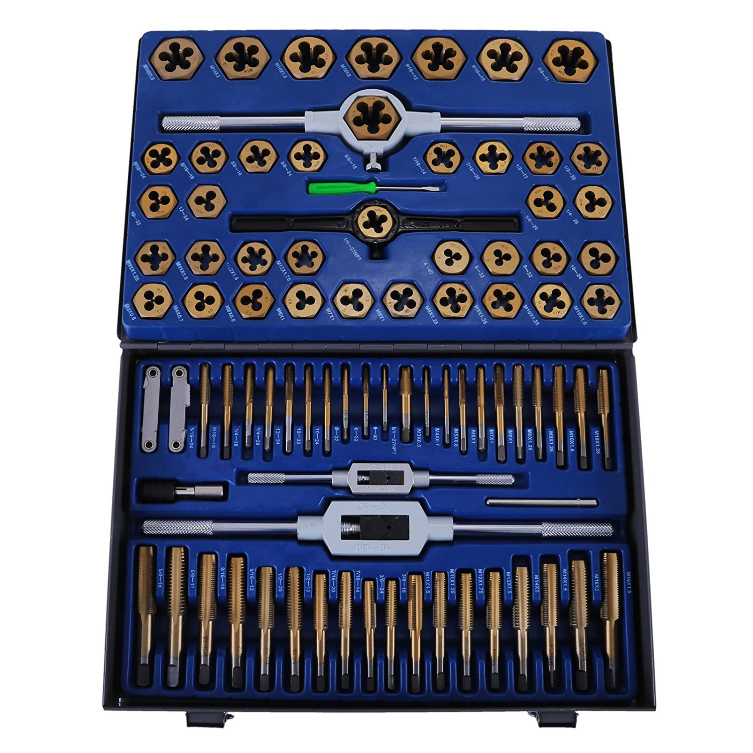 BestEquip Tap and Die Set 86 Piece Metric Tap and Die Set Tungsten Steel Titanium Sae and Metric Tools with Carrying Case (86 Piece)