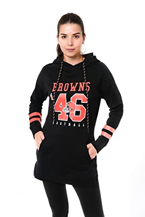 hot sale online ccf7a cac2c NFL Cleveland Browns Ultra Game Women's L/S FLACH TUNIC P/OW/HOOD, Black,  Large