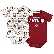 Houston Astros MLB Unisex Baby Infants 2 Pack Bodysuit Set, Brick Red / White