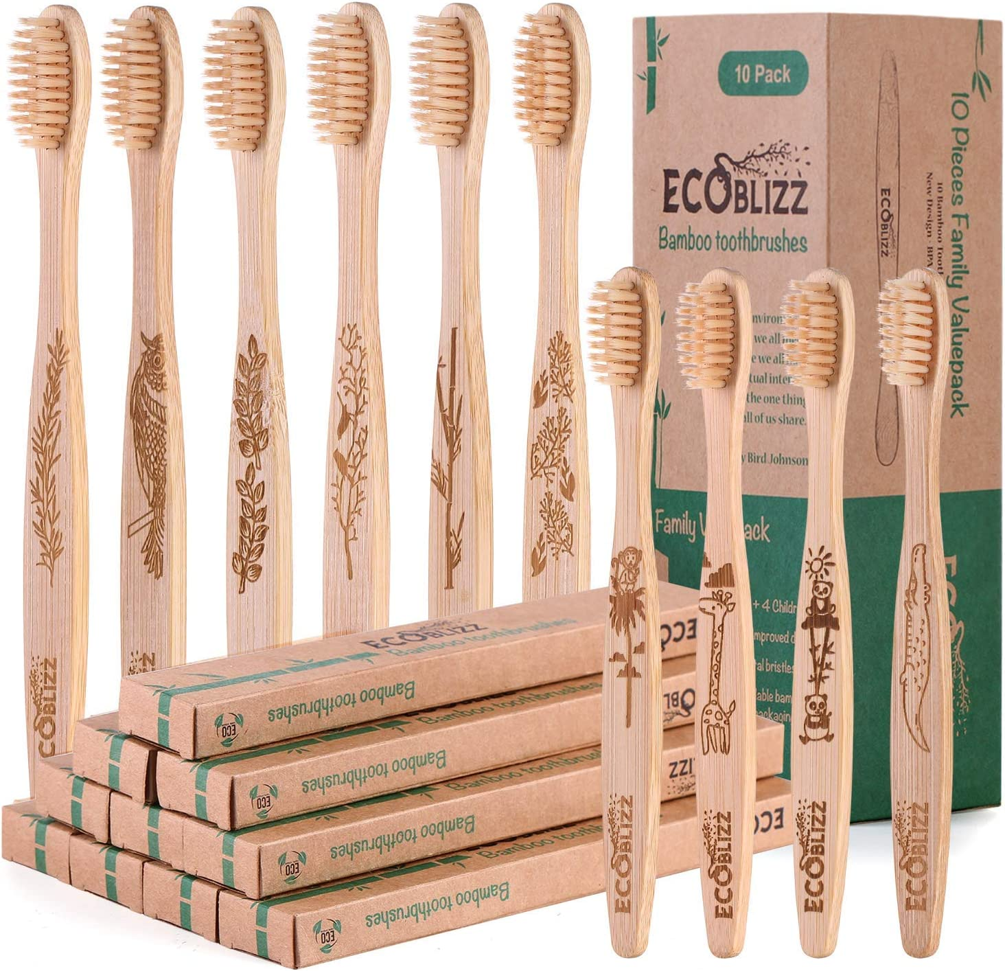 Cepillo Dientes Bambu Paquete Familiar de 10 | 6 Adultos, 4 Niños | Cepillo de Dientes de Bambu Ecológico | Cerdas Suaves: Amazon.es: Salud y cuidado personal