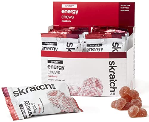 SKRATCH LABS Sport Energy Chews, Raspberry 10 pack – Natural, Developed for Athletes and Sports Performance, Gluten Free, Dairy Free, Vegan