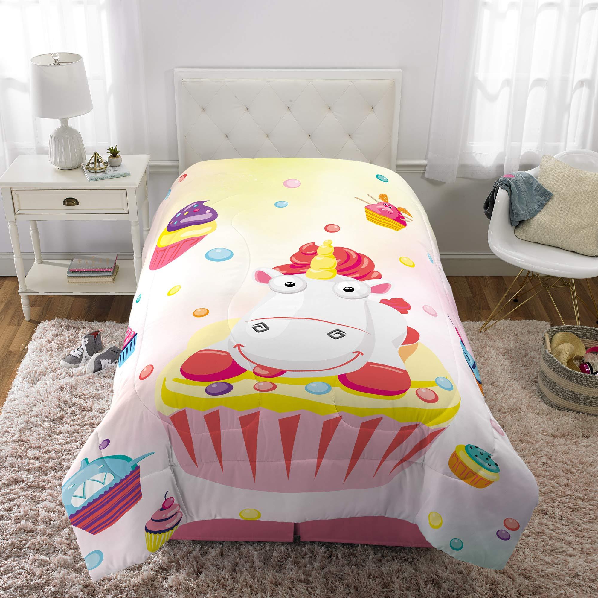 Franco Kids Bedding Super Soft Microfiber Reversible Comforter, Twin/Full Size 72'' x 86'', Fluffy Unicorn by Franco