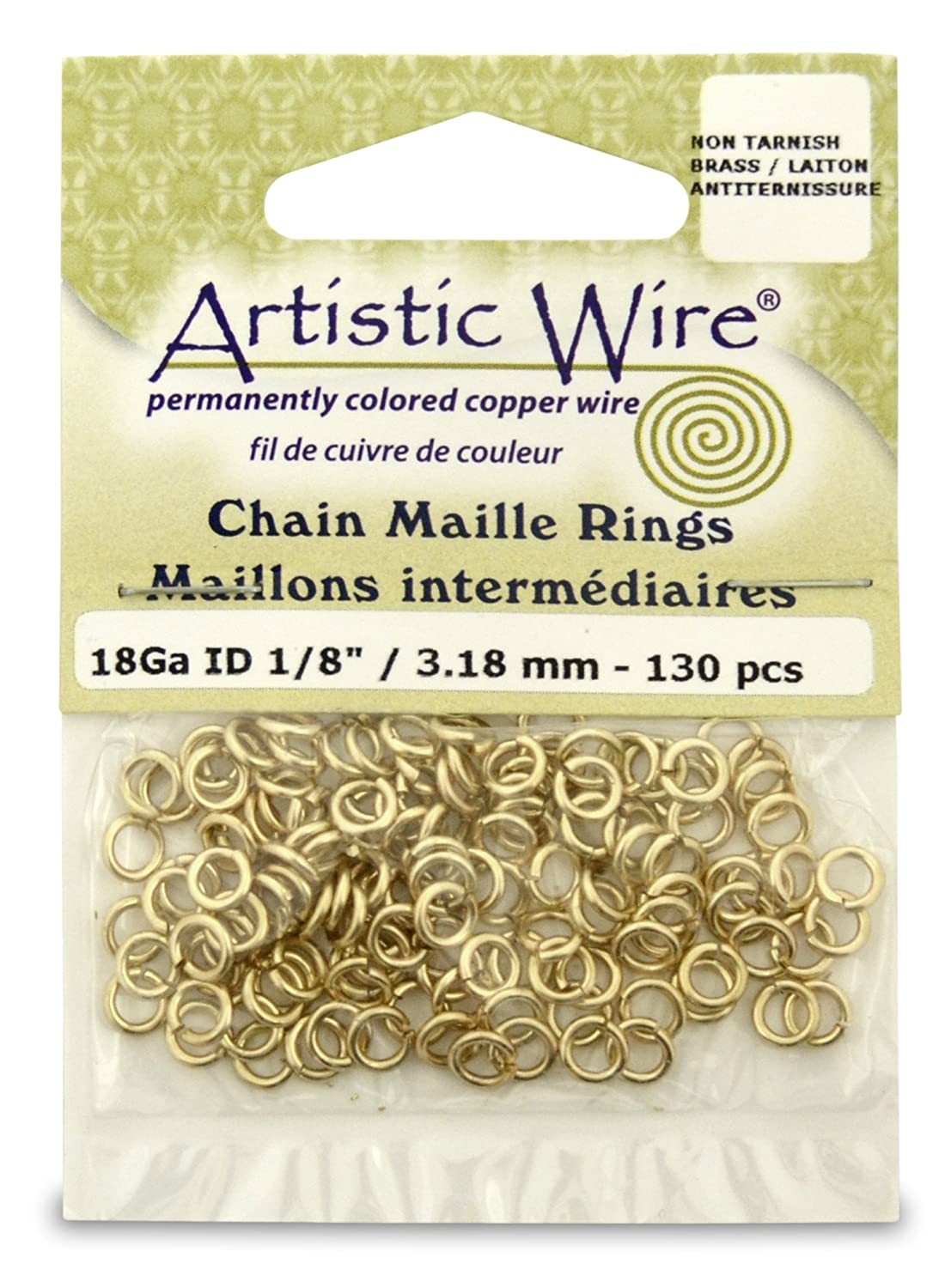 Artistic Wire Beadalon 1/8-inch 130 Piece 18-Gauge Non-Tarnish Chain Maille Rings, Brass A314-18-NTB-04