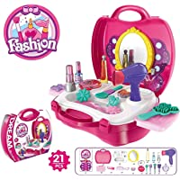 Gooyo Beauty Suitcase Pretend Play Toy Set Makeup Accessories Girl's Beauty Kit Toy Set