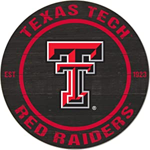 """KH Sports Fan Texas Tech Red Raiders 20""""x20"""" Weathered Circle Sign, Team Color"""