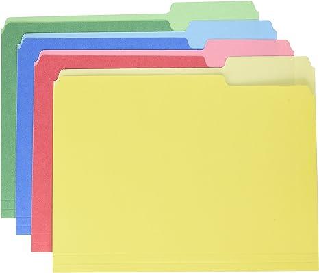 Letter, 100 ct. Pendaflex 1//3 Tab CutLess File Folders Assorted Colors