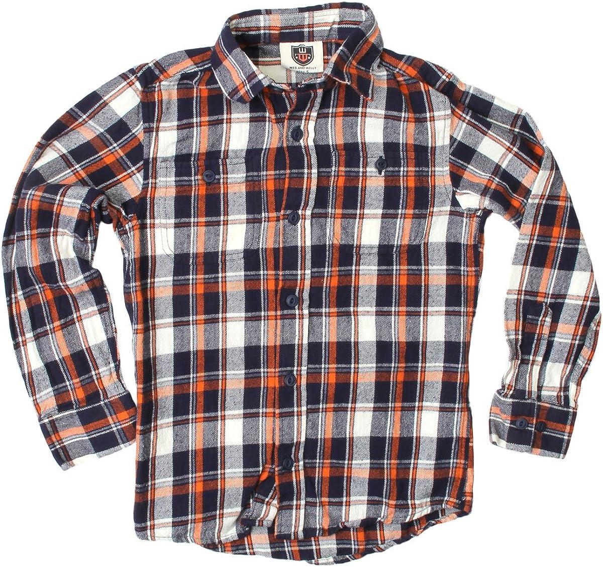 Wes and Willy Orange Crush Plaid Shirt