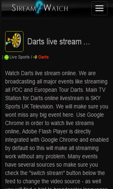 live stream dart