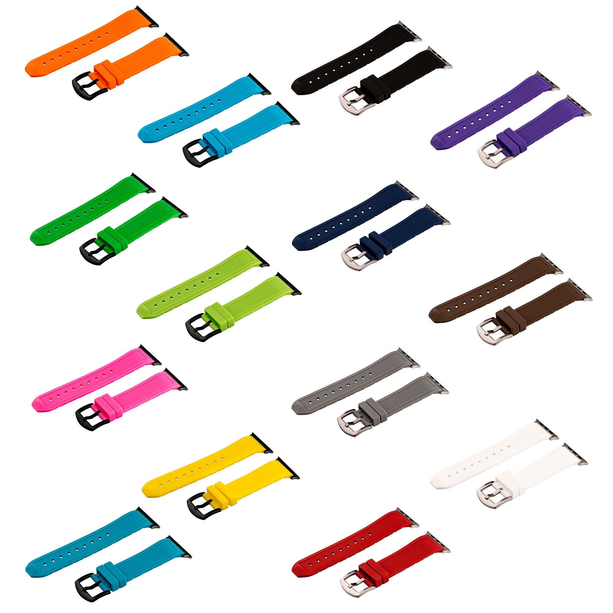Clockwork Synergy - Set of 14 Divers Silicone Watch Bands for 42mm Apple Watch (Brushed Steel Hardware)
