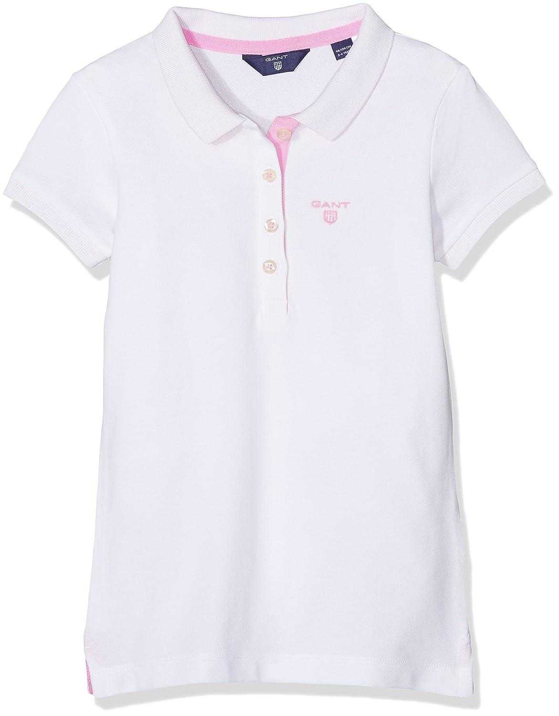 Gant Contrast Collar SS Pique, Polo Bambina Bianco (White 110) (Taglia Produttore: 134/140) 602518