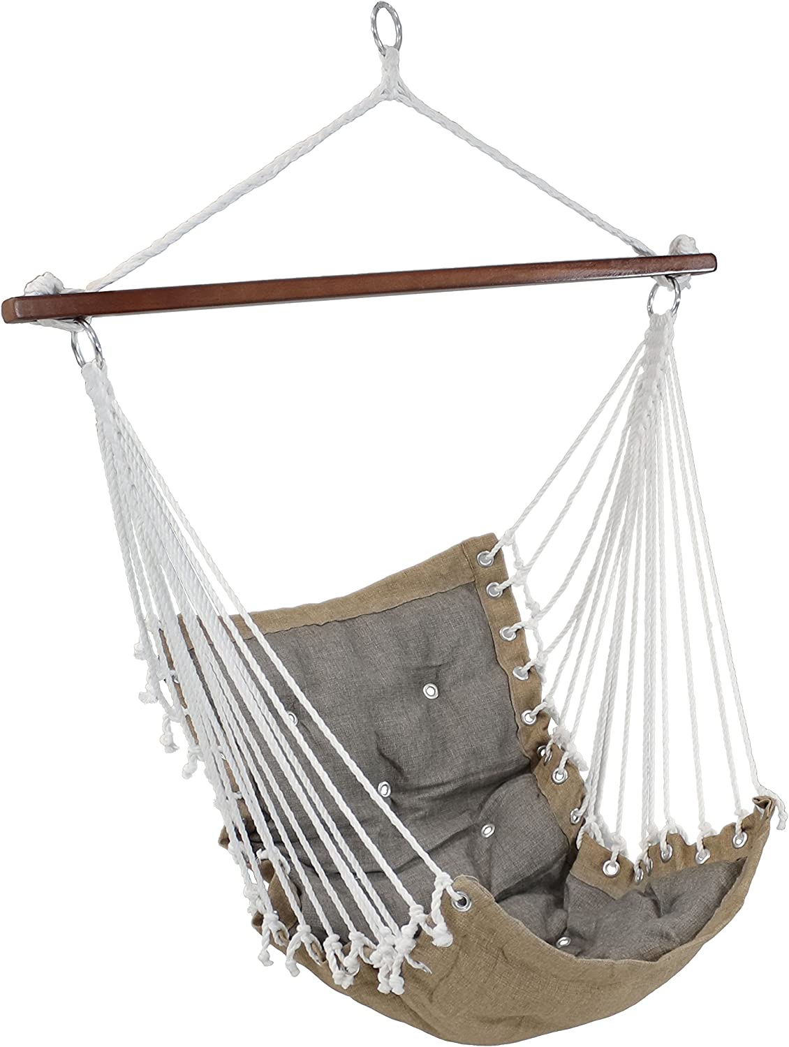 Sunnydaze Tufted Victorian Hammock Chair Swing, Indoor or Outdoor Hanging Seat, Sturdy 300 Pound Weight Capacity, Gray