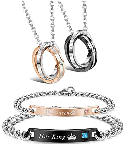 6f35b7ca94 Amazon.com: LOYALLOOK Couple Pendant Necklace Gift for Men Women His & Hers  Matching Set Jewelry Stainless Steel Couples Distance Bracelets Chain Lover  Gift ...