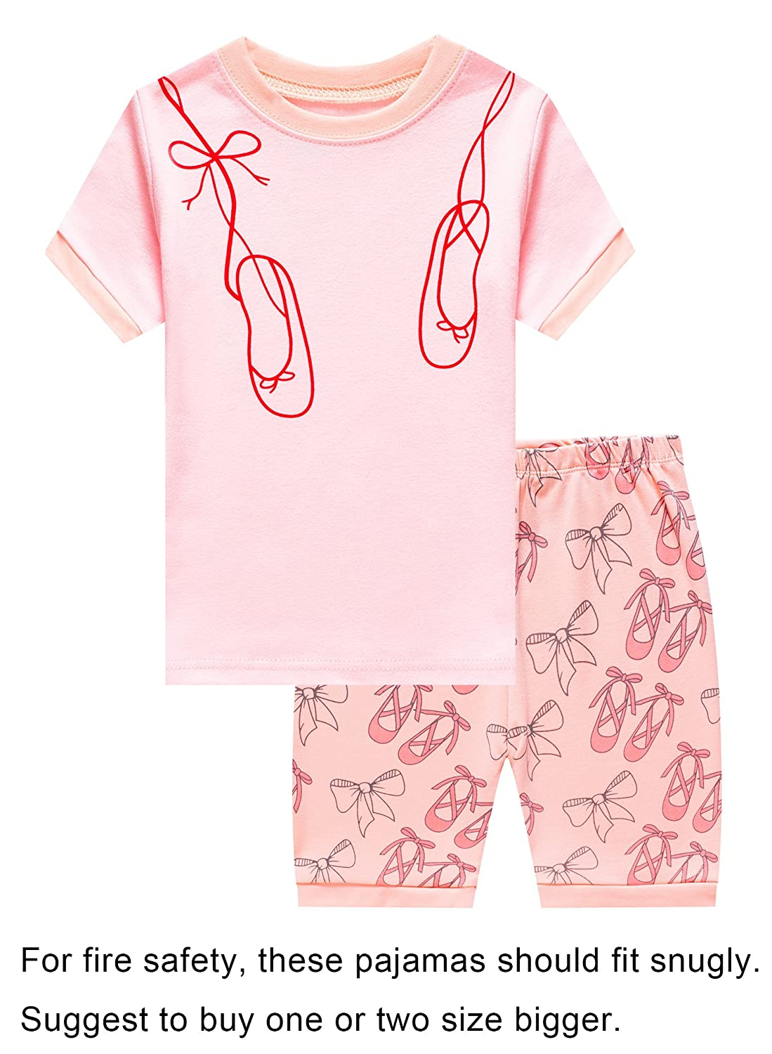 Barara King Little Big Girls Summer Snug-Fit Pajamas Short 100% Cotton Pink Kids PJS Sets