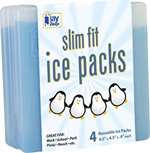 "Jay Bags Slim Fit Ice Packs for Coolers, Lunch Boxes, and Lunch Bags, Reusable, 4.5"" x 4.5"" x 0.4"" Inches, 4 Pack"