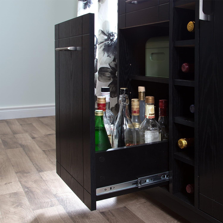 South Shore Vietti Bar Cabinet With Bottle And Glass Storage, Black Oak,  Wood: Amazon.co.uk: Kitchen U0026 Home