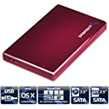 Sabrent Premium Ultra Slim 2.5-Inch SATA to USB 3.0 External Aluminum Hard Drive Enclosure Red (EC-ALRD)