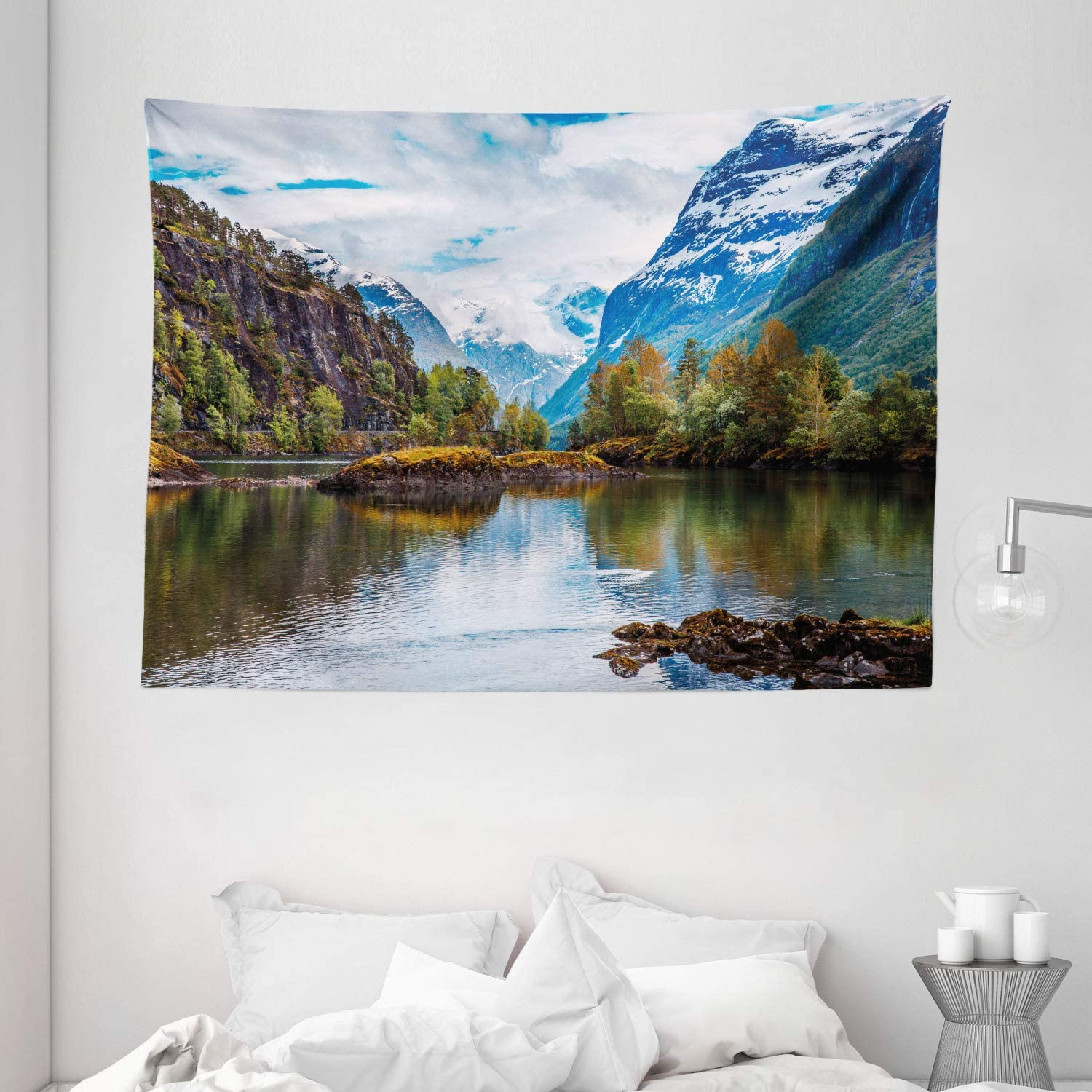 """Ambesonne Nature Tapestry, Norway Mountain Range with Snowy Peaks by The Lake Fishing Nordic Northern Landscape, Wide Wall Hanging for Bedroom Living Room Dorm, 80"""" X 60"""", Blue Brown"""