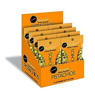 Wonderful Pistachios & Almonds No Shells, Honey Roasted, 2.25 Oz (Pack Of 8)