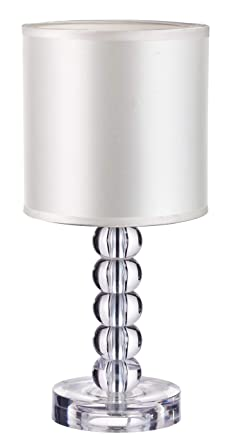 Table Lamp With Acrylic Crystal Body Stacked Ball Design And Textile