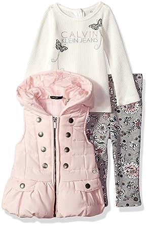 35cf7208f Amazon.com: Calvin Klein Baby Girls' 3 Pc Puffer Vest Set: Clothing