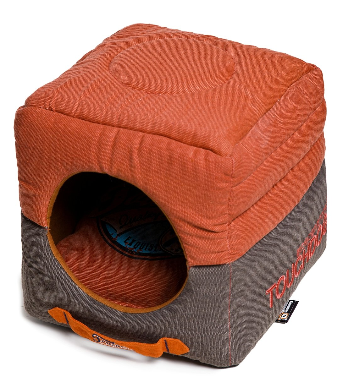 TOUCHDOG 'Vintage Squared' Congreenible and Reversible Retro Printed 2-in-1 Collapsible Pet Dog Cat House Bed, One Size, Grenadine, Dark Brown