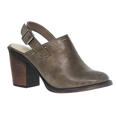 MVE Shoes Women's Chunky Med Heel Clogs- Faux Saude Studded Platform Mule- Back Strap Comfort Shoe   Mules & Clogs