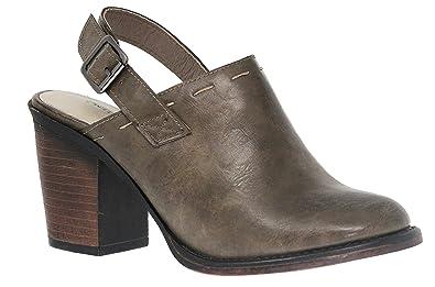 560af2249 MVE Shoes Women's Chunky Med Heel Clogs- Faux Saude Studded Platform Mule-  Back Strap