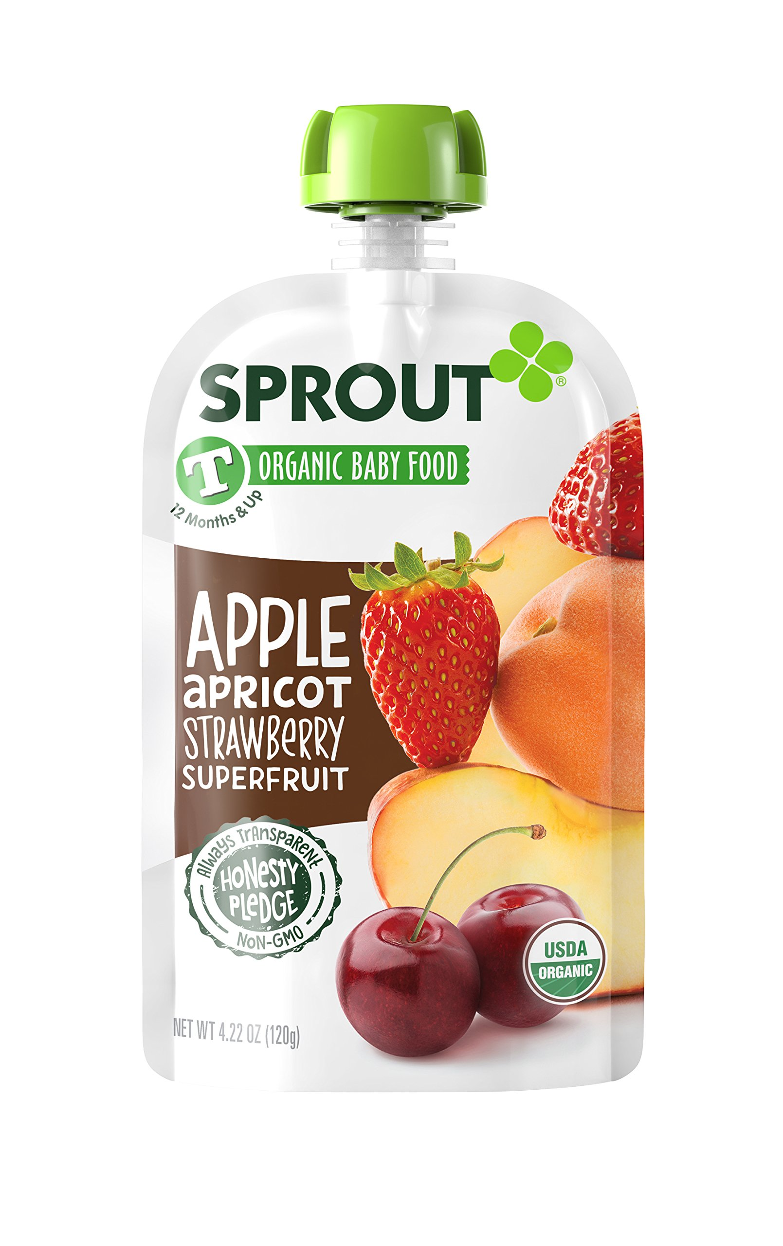 Sprout Organic Baby Food Pouches Sprout Organic Power Pak Toddler Food Pouch, Superblend with Apple Apricot & Strawberry, 4 Ounce (Pack of 12); USDA Organic, Non-GMO, 3 Grams of Protein, Plant Powered