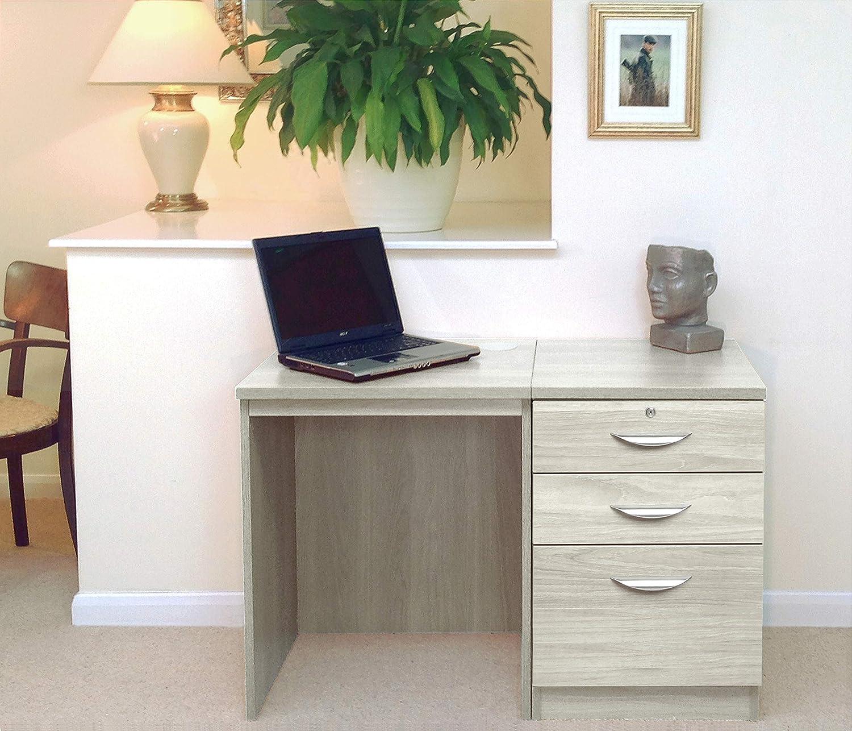 SET-02-IN Desk Drawer Unit Laptop Table Filing Cabinet Kids Small Set Home Office Furniture UK Black Havana With Nickel Handle, Wood Grain Profile