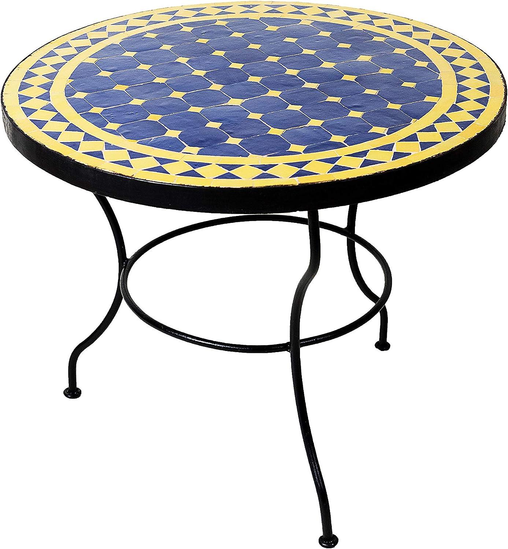 ORIGINAL Marokkanischer Mosaiktisch Couchtisch /ø 60cm Gro/ß rund Runder Kleiner Mosaik Gartentisch Mediterran Beige Bordeaux als Tisch Beistelltisch f/ür Balkon oder Garten  