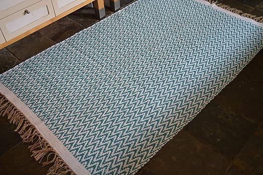 Rugsite - Alfombra Gruesa 100% algodón de Chevrons Teal. Alfombra Grande Reversible de 120 x 180 cm: Amazon.es: Hogar