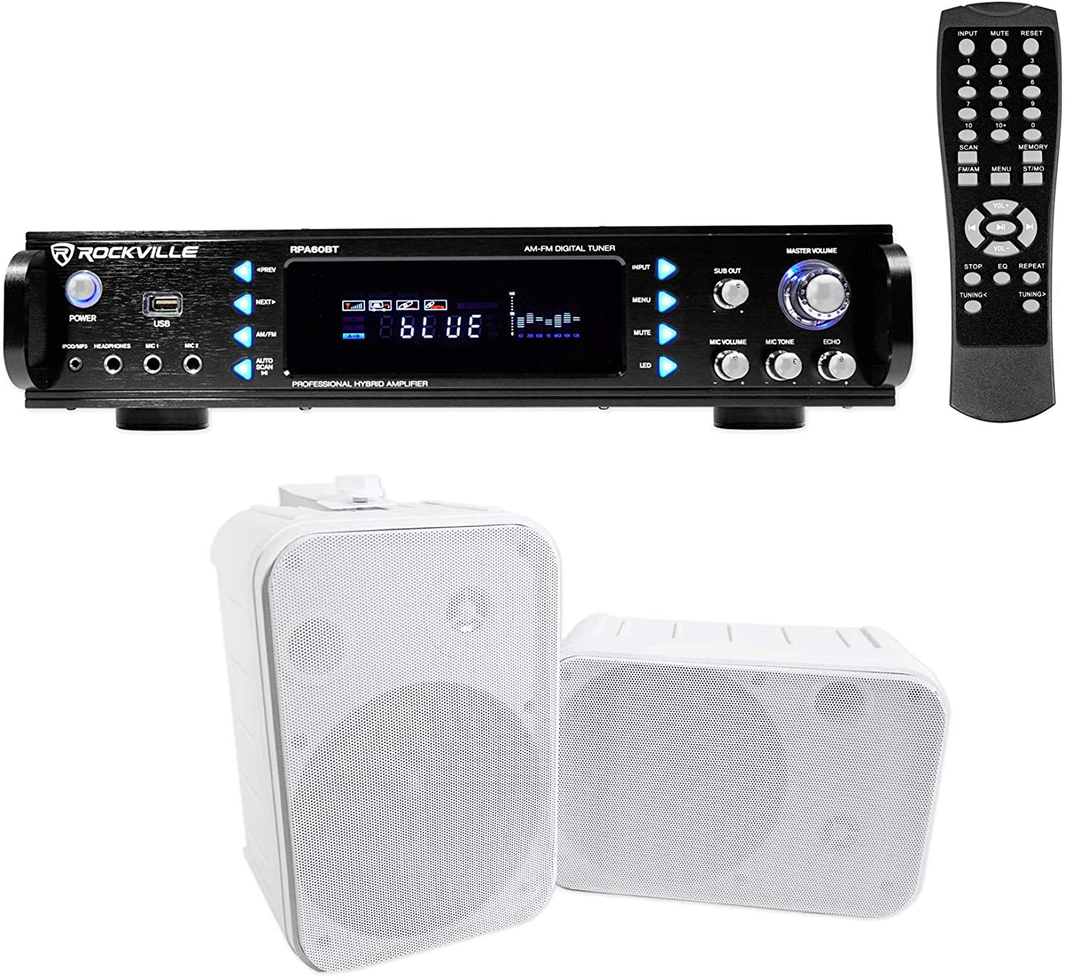 Rockville Home Theater Bluetooth Receiver + (2) 6.5