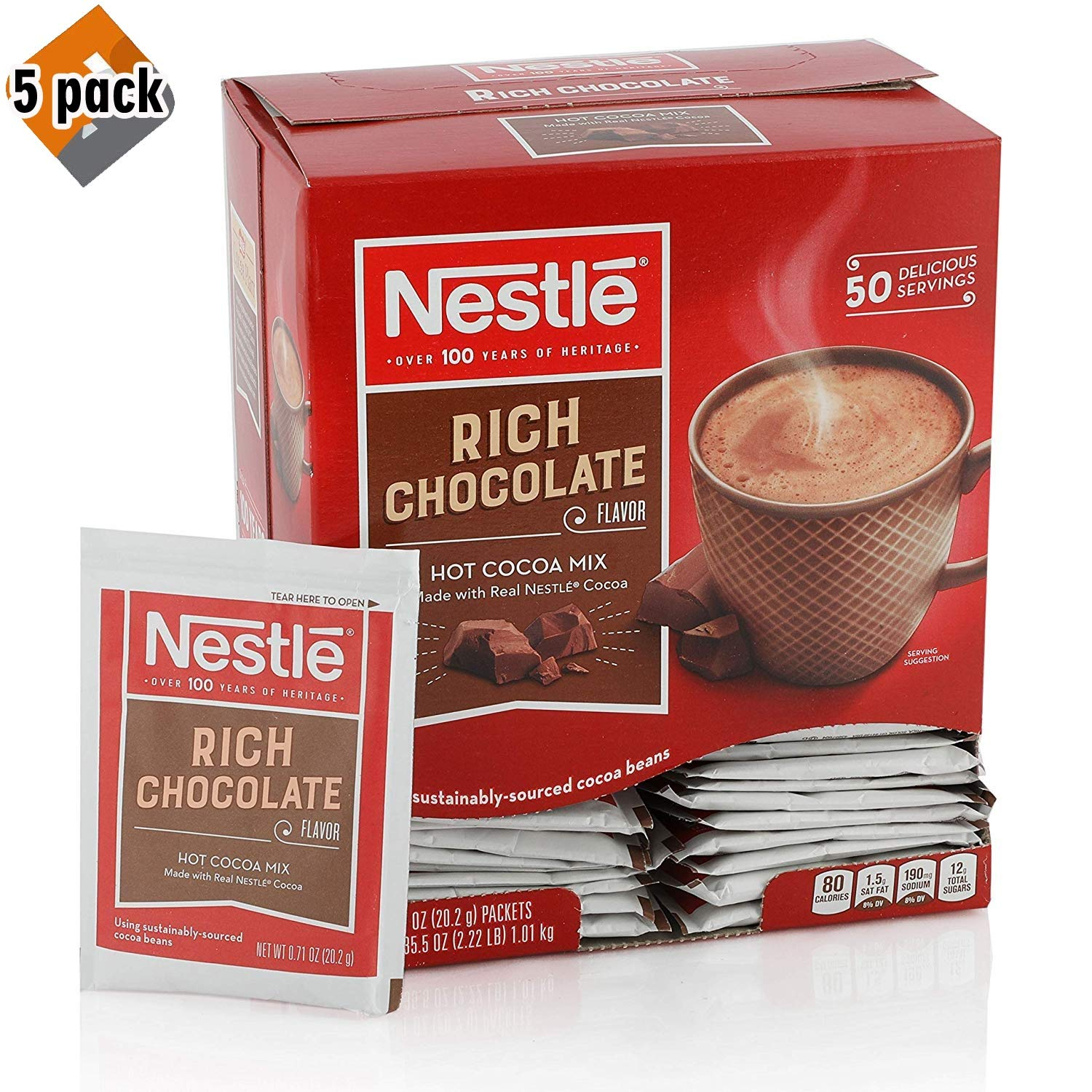 Nestle Hot Chocolate Mix, Hot Cocoa, Rich Chocolate Flavor, Made with Real Cocoa, 50 Count - 5 Pack by Nestle Hot Cocoa