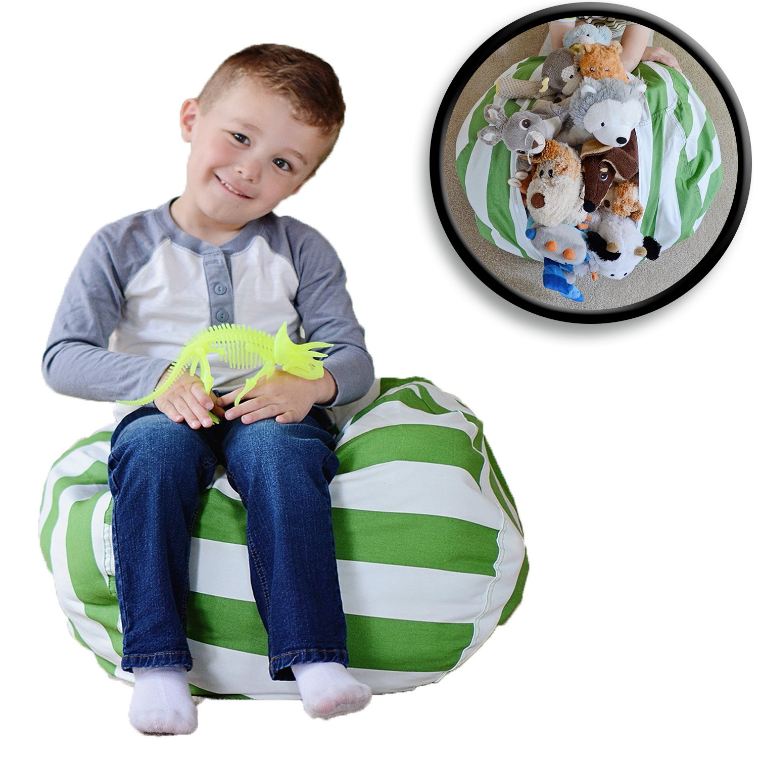"""Stuffed Animal Storage Bean Bag Chair - Premium Cotton - Clean Up The Room And Put Those Critters To Work For You! - By Creative Qt (27"""", Green/white Striped)"""
