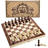 """Amerous 12"""" x 12"""" Magnetic Wooden Chess Set for Adults and Kids, 2 Bonus Extra Queens, Folding Board with Storage Slots…"""