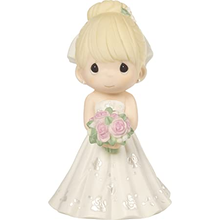 Precious Moments Perfect Couple Bride, Blonde Hair With Light Skin Tone Bisque Porcelain Wedding Figurine Cake Topper, 172061