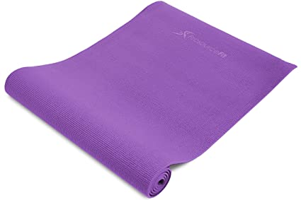 """ProsourceFit Original Yoga Exercise Mat ¼"""" (6mm) Thick for Comfort and Stability with Carrying Straps, Non Slip – Purple"""