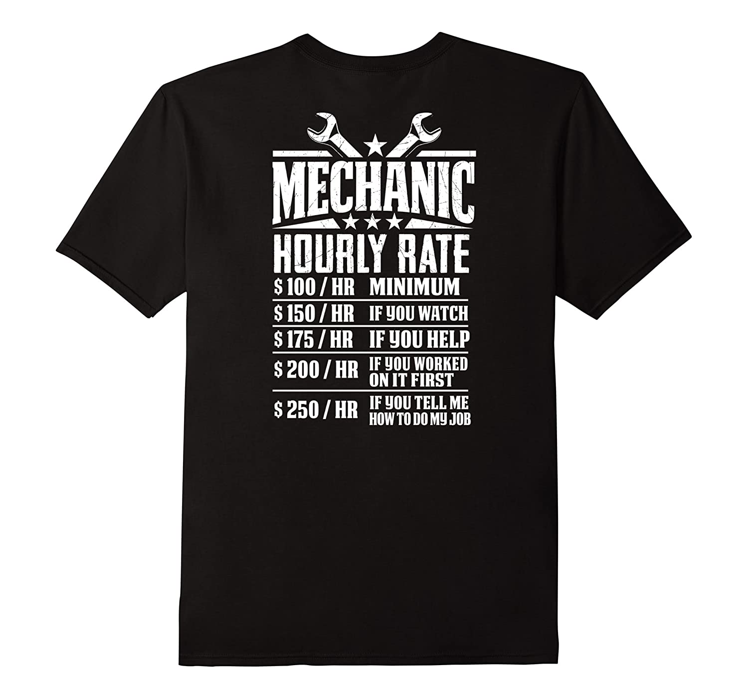funny mechanic hourly rate graphic design t shirt back