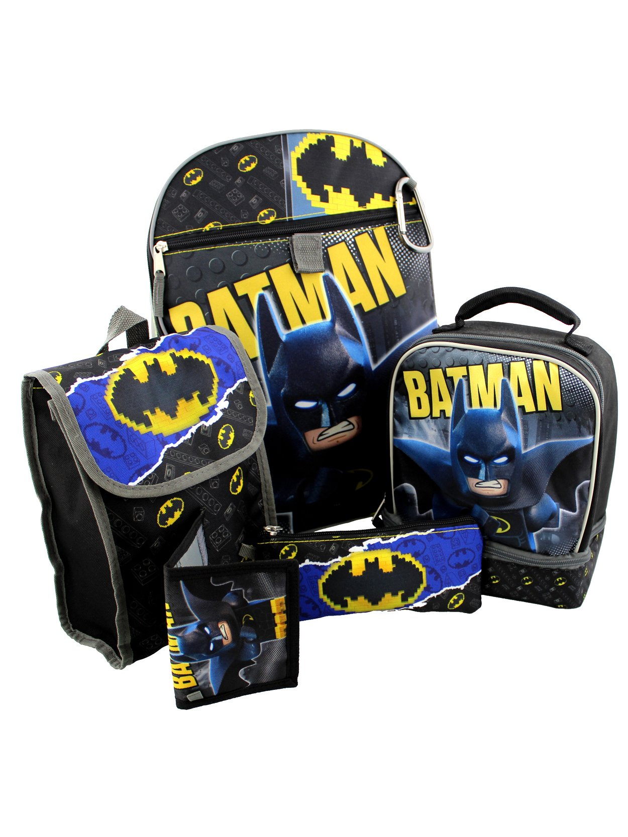 Lego Batman 6 piece Backpack and Lunch Box School Set (Black/Grey, One Size)
