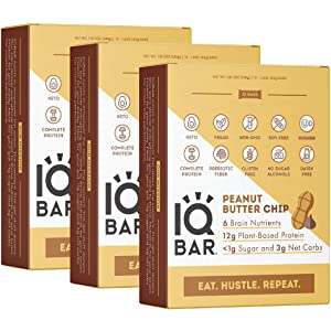 IQBAR Brain and Body Keto Protein Bars - Peanut Butter Chip Keto Bars - 36-Count Energy Bars - Low Carb Protein Bars - High Fiber Vegan Bars and Low Sugar Meal Replacement Bars - Vegan Snacks