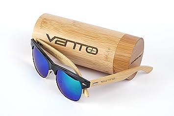 Vento Eyewear® modelo Sirocco Black&Green - Gafas de sol de madera de bambú, diseñadas en Italia con certificados CE y protección UV400, Marco negro ...