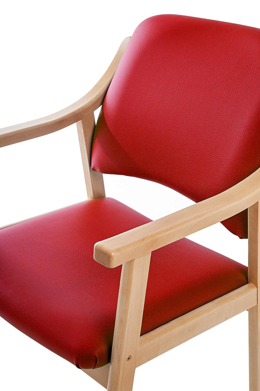 SUENOSZZZ - Silla Altea de Madera de Haya, Polipiel Color Rojo. Sillas para Comedor/Salon/habitacion | Silla geriatrica | Silla Madera | Mueble para ...