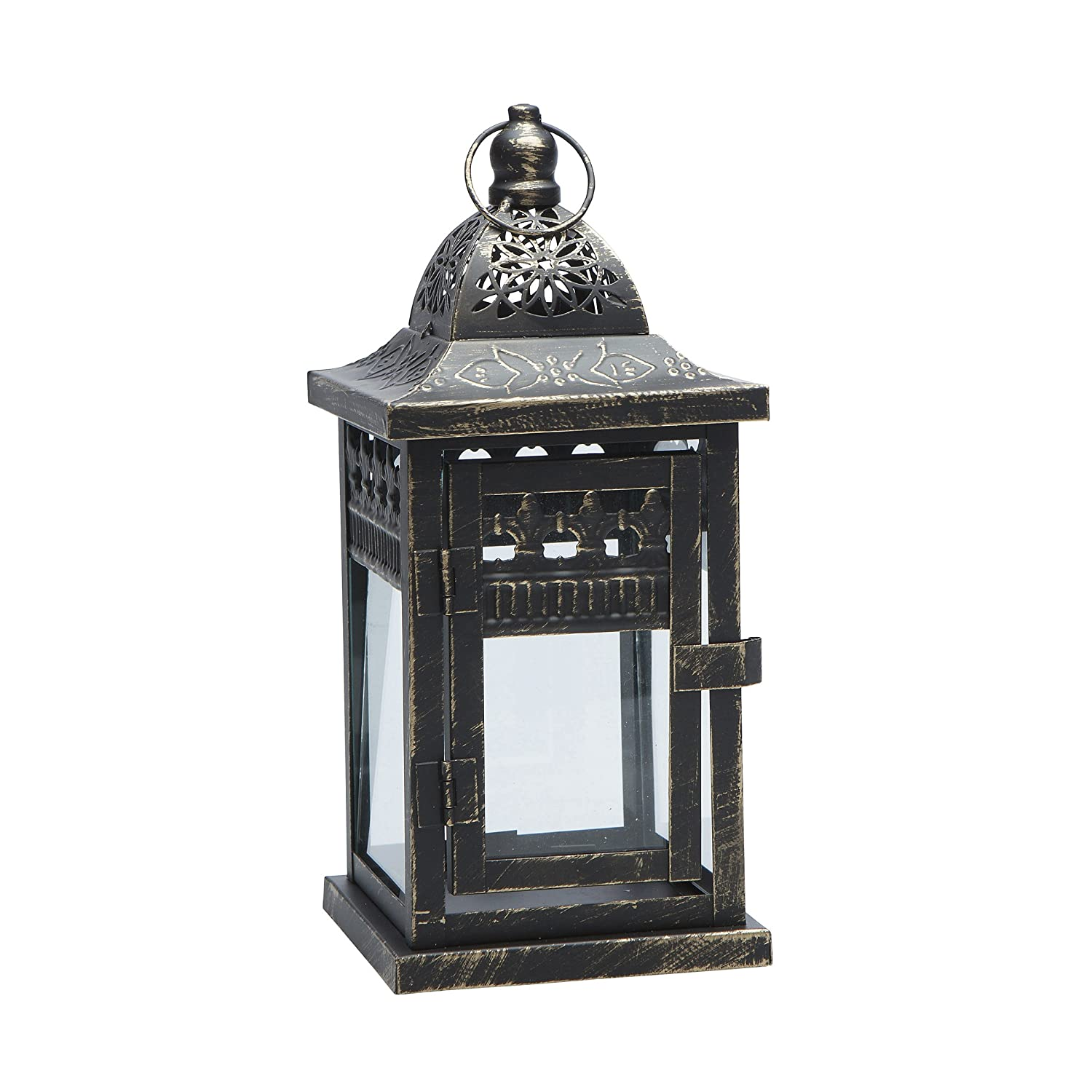 Darice Black Metal Lantern with Distressed Gold Accents, Black/Gold 30012678