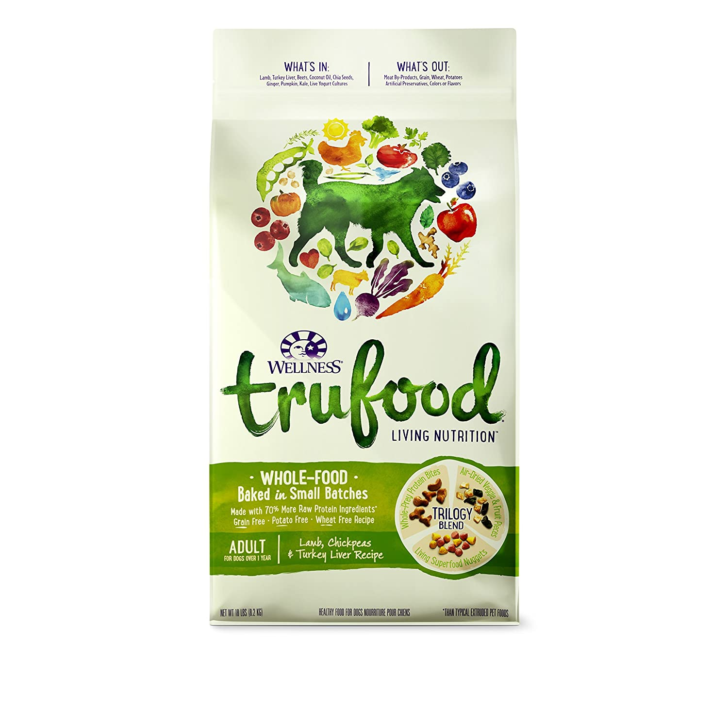 Amazon wellness trufood baked blends natural grain free dry dog amazon wellness trufood baked blends natural grain free dry dog food lamb chickpeas and turkey liver recipe 18 pound bag pet supplies forumfinder Image collections